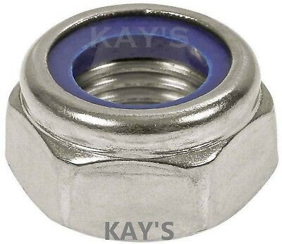 A2 Stainless Steel Nyloc Nuts For Bolts/Screws M2.5,3,4,5,6,8,10,12,14,16,18,20
