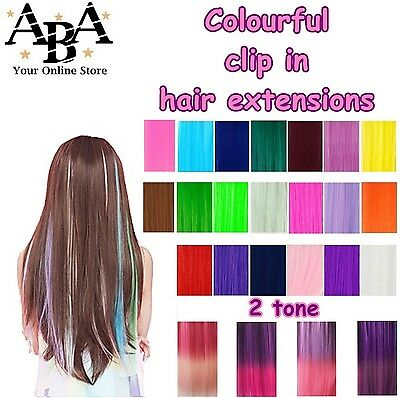 Clip-in Hair Extensions, great colours, fluro colour Bright Coloured