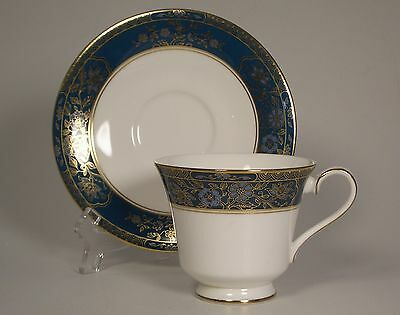 Royal Doulton China Carlyle Cup & Saucer Set (s) Blue Flowers Gold Teal England