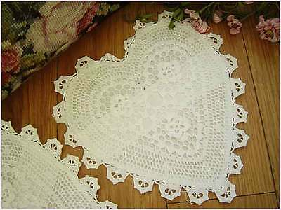 Lovely Hand Crochet 3D Flower Cotton White Heart Shape Doily Satchel 25CM