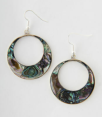 Tumi mexican abalone shell hoop  earrings hand made Mexico fair trade