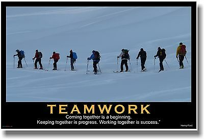 NEW Motivational TEAMWORK POSTER - Henry Ford Quote - Sports Ski Team