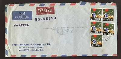 Malta Express Delivery Airmail 1972 Anglia Shipping Envelope