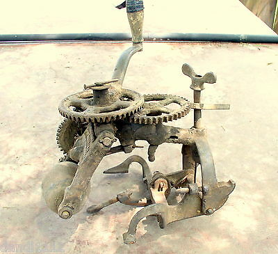 Vintage Iron Bench Clamp Hand Crank Stone Grinding Wheel Gear