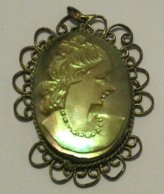 Antique Hand Carved Mother Of Pearl Mop Cameo Pendant