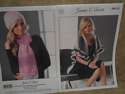 James C Brett - Ladies Hat, Scarf and Wrap Double Knitting Pattern - JB122