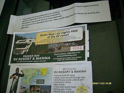 gift certificate for free camping at pedder bay in victoria b.c