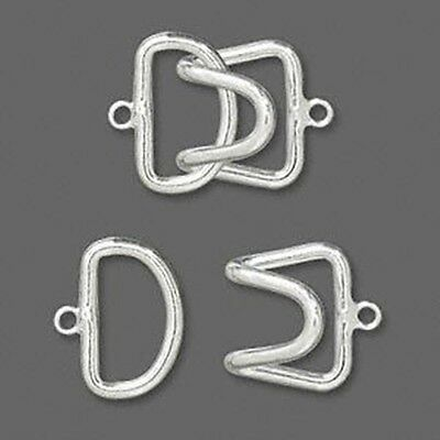 Hook-and-Eye Large Silver Plated 1-Strand Jewelry Clasps 3 sets
