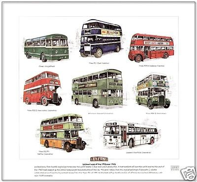 LEYLAND BUSES of the 50's & 60's  FINE ART PRINT Titan PD1 PD2 Atlantean Olympic