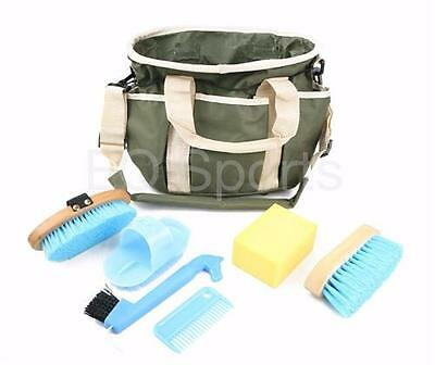 Kids/Child Grooming Kit Bag Khaki Green With Blue Accessories Ideal Gift!!