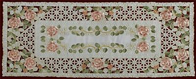 """Embroidered Rose Daisy Floral Pastel Easter Ivory Table Runner 15x34"""" #3817A"""