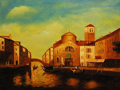 """12""""x16"""" Canvas Wall Art Oil Painting Hand Painted-Venitian Port"""