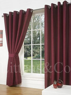 "66"" x 54"" RED WINE FAUX SILK CURTAINS EYELET / RING TOP FULLY LINED INC TIEBACKS"