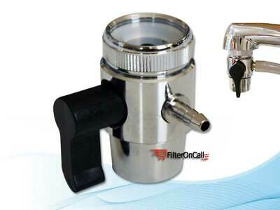 "Lead Free Faucet Adapter Diverter Valve RO Water Filter System for 1/4"" tubing"