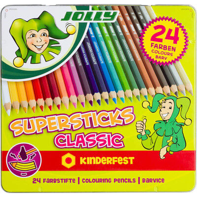 Jolly Buntstifte Supersticks Classic, in Metalletui, mehrfarbig (24 Stück)