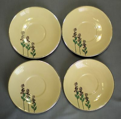 4 VTG LEIGH WARE POTTERS WILD FLOWERS SAUCERS PLATINUM RIM RARE