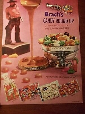 1958 Vintage Print Ad Brach's Candy Round Up 10X13 El Rancho Longhorn Nougats