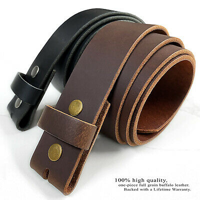 "Snap On Cowhide One Piece Leather Belt Strap 1-1/2"" Wide, Black Brown White"