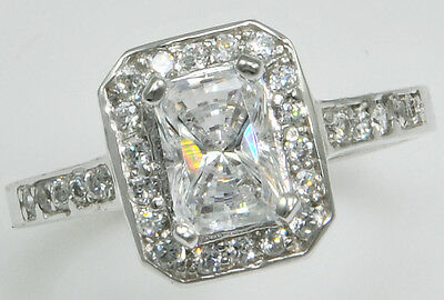 5 ct Radiant Cut Ring Top Russian Quality CZ  Sterling Silver  Size 4