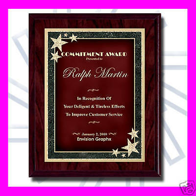 7x9 CUSTOM ENGRAVED RED RECOGNITION AWARD PLAQUE SB