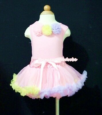 Baby Light Pink Rainbow Pettiskirt Tutu Dress Pink Top Matching Rose Set 3-12M