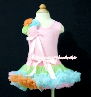 Baby Rainbow Pettiskirt Tutu Dress Light Pink Top Bunch Matching Rose Set 3-12M