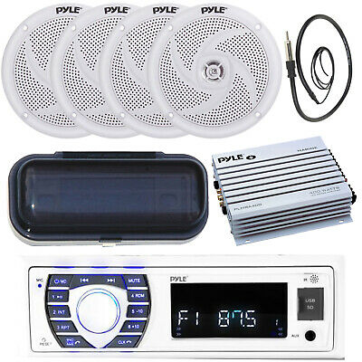 In Dash MP3 USB Stereo + 4 Speakers 400Watt Amp /Antenna Complete Marine Package