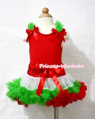 Xmas Red White Green Baby Pettiskirt Skirt Hot Red Top Matching Ruffle Bow NB-8Y