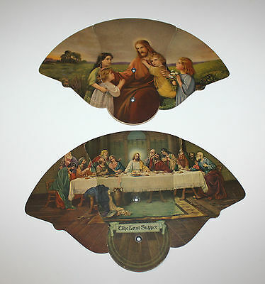 2 Vintage Fold-Out Paper Hand Fans The Last Supper & Jesus with Children