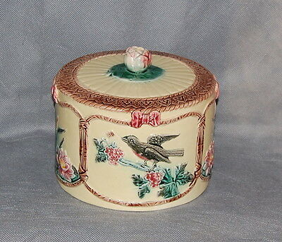 Victorian English Majolica Pottery Cheese Dome Birds Plants Flowers