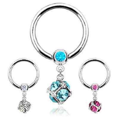 Surgical Steel Gemmed Captive Bead / Ball Closure Ring w/Multi Gem Paved Dice