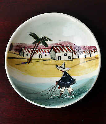 Martin Boyd Signed Small Decorative Bowl Dish Australian Pottery Mexican Fishing