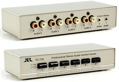 NEW METAL 6 PORT PROFESSIONAL STEREO AUDIO SWITCH CONTROL, 4 x PHONO + 2 x 3.5MM