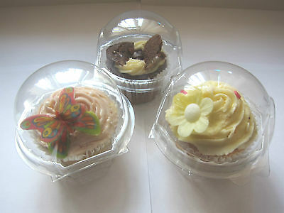 12 LARGE 8.5cm clear Superior Quality CUPCAKE/MUFFIN cake clams boxes pods