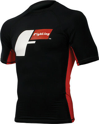 Rash Guard Fighting Sports Black & Red Short Sleeve From The Usa Bjj Nogi Mma