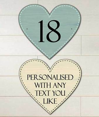 Heart Shaped Personalised Metal House Number Sign, Outdoor Sign, Vintage Style