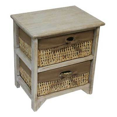 JVL 2 Two Tier Maize Drawer Natural Wood Storage Unit Cabinet with Linings