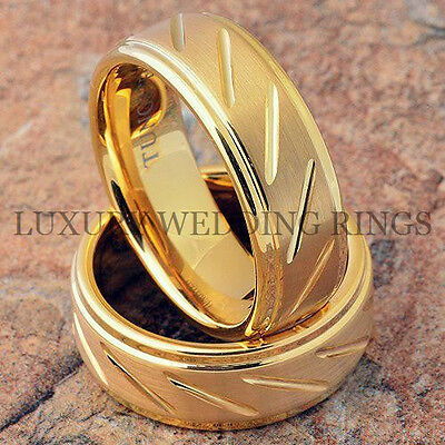 Tungsten Rings 14K Gold Wedding Bands Matching Set Bridal Jewelry Size 6-13