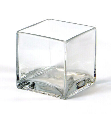"""5 Inch 12pc Clear Square Glass Vase Cube 5/"""" x 5/"""" x 5/"""" Centerpiece VCB0005"""