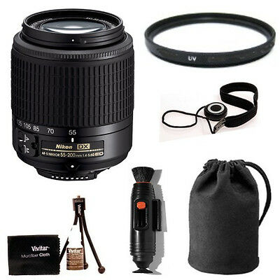 Nikon 55-200mm f4-5.6G ED AF-S DX w/ Deluxe Accessory Kit & Warranty ( Import )