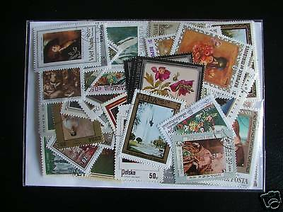 Timbres Peintures / Tableaux : 100 Timbres Tous Differents / Paintings Stamps