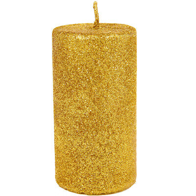 10CM Gold Glitter Pillar Christmas Party Wedding Special Occasion Candle