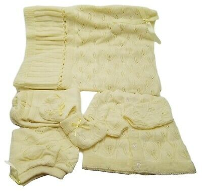 Knit Crochet Baby Set leaf design Blanket Pants Sweater Hat Booties - Yellow