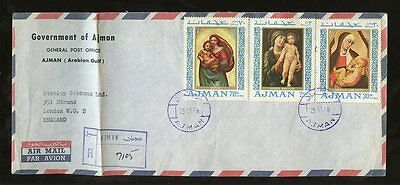 Ajman 1958 Registered Airmail Paintings Set Madonna Fdc?