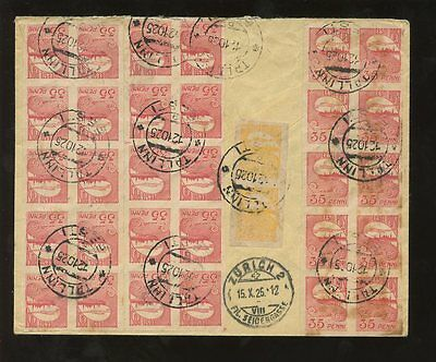 ESTONIA 1925 REGISTERED...35 STAMP FRANKING...mixed perf. and imperf issues