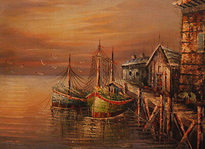 """Sunset on the Dock-Hand Painted Oil Painting on Canvas Stretched12""""x16"""""""