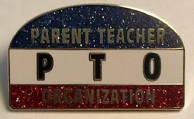 """PTO PARENT TEACHER ASSOCIATION"" R/W/B Glitter Lapel Pins/Lot of 25 NIB!"
