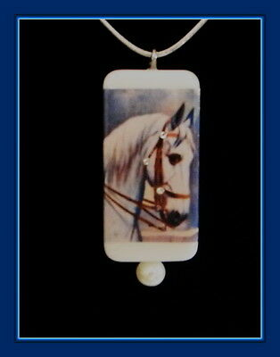 Beautiful White Stallion Horse Pendant