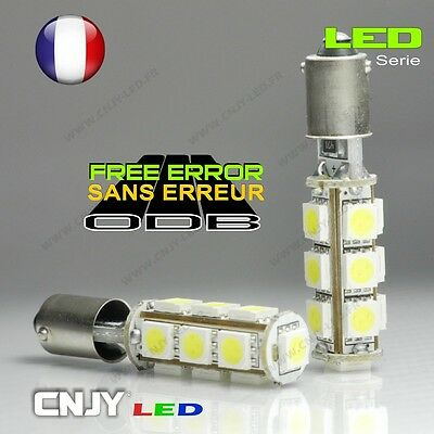 2 Ampoules Cnjy 13 Led Cbs Smd Anti Erreur Culot Bay9S H21W Blanc Hid Xenon 12V