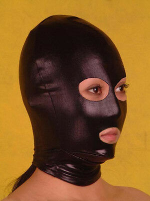 Lycra Spandex zentai costume black metallic open eyes and mouth Mask/Hood